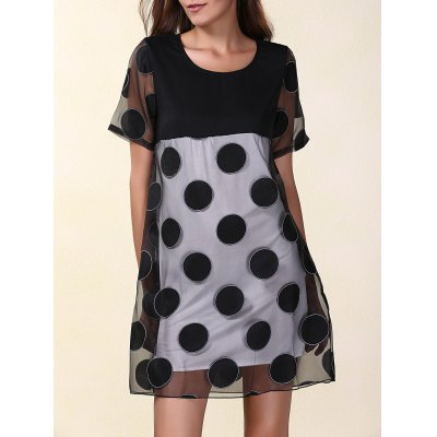 Scoop Neck Short Sleeve Polka Dot Organza Women's Dress