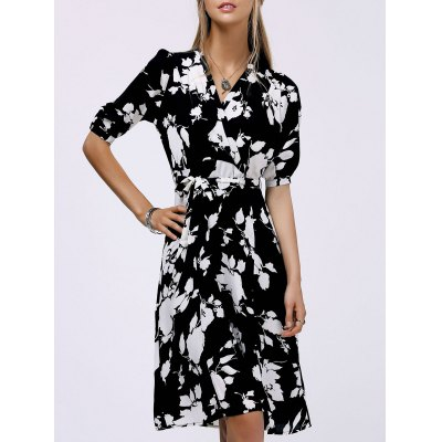 Fashionable V-Neck Floral Print Midi Dress For Women
