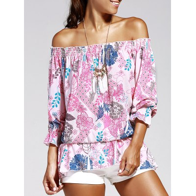 Women's Off The Shoulder Print Chiffon Blouse