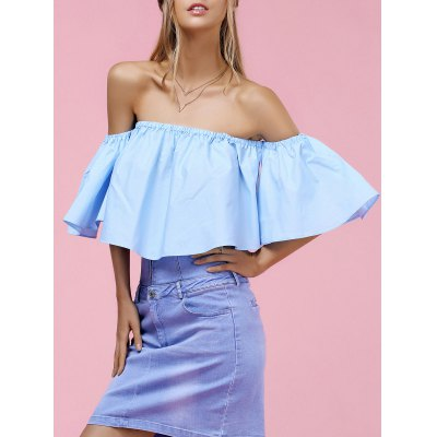 Trendy Off-The-Shoulder Pure Color Women's Blouse