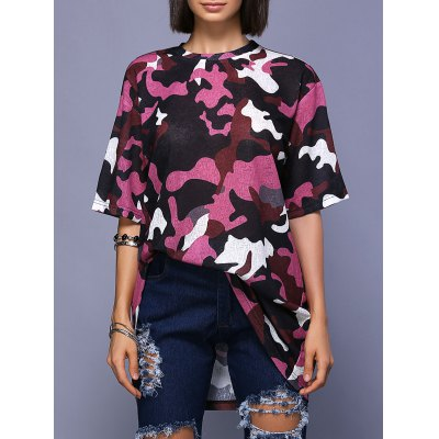 Trendy Round Neck High Slit Camo Print T-Shirt For Women
