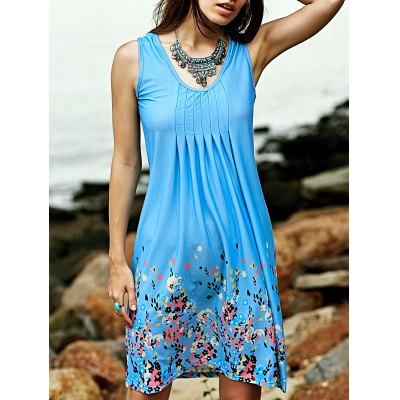 Scoop Neck Sleeveless Fitting Printed Dress