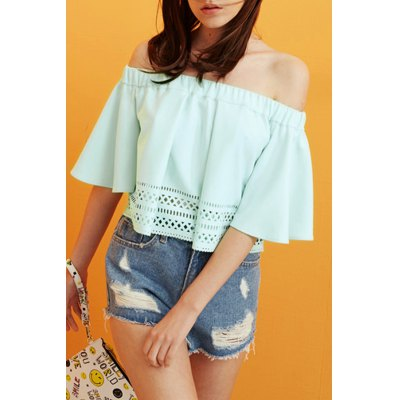 Off The Shoulder Flounced Hollow Out T-Shirt