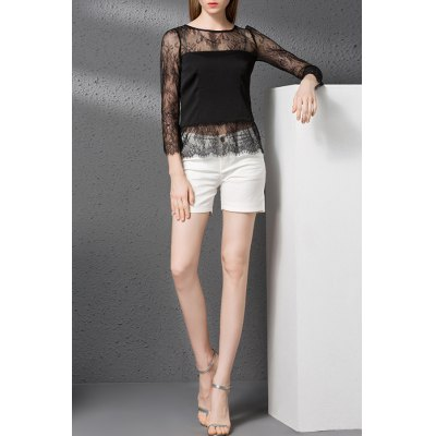 Solid Color Lace Spliced Hollow Out T-Shirt