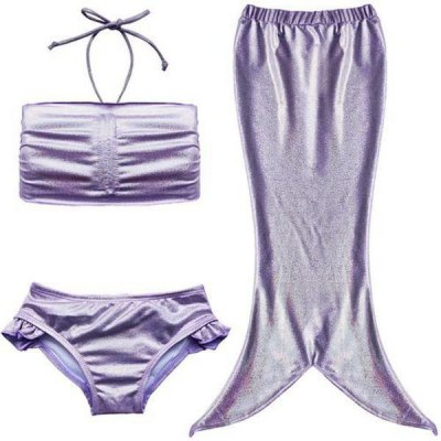 Cute Mermaid Design Solid Color Halter Bra + Briefs + Cover Up Swimsuit