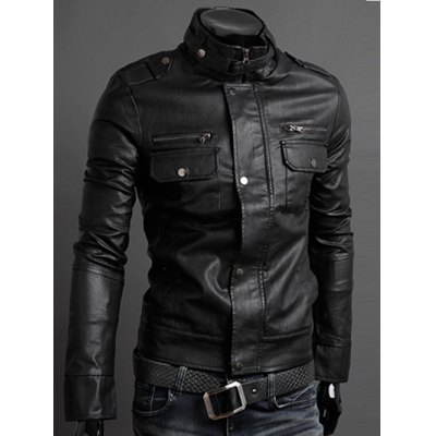 Stand Collar PU-Leather Belt Embellished Epaulet Long Sleeve Jacket For MenMens Jackets &amp; Coats<br>Stand Collar PU-Leather Belt Embellished Epaulet Long Sleeve Jacket For Men<br><br>Clothes Type: Leather &amp; Suede<br>Style: Fashion<br>Material: Faux Leather<br>Collar: Stand Collar<br>Clothing Length: Regular<br>Sleeve Length: Long Sleeves<br>Season: Fall,Spring<br>Weight: 0.785kg<br>Package Contents: 1 x Jacket