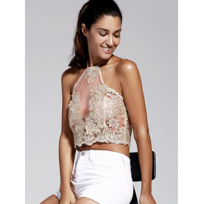 Women's Refreshing Halter Laced Embroidery Crop Top