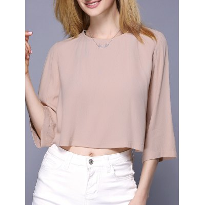 Simple Style 3/4 Sleeve Round Neck Crop Top