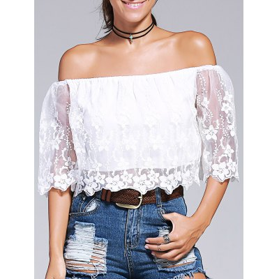 Off-The-Shoulder Embroidery Laciness Crop Top