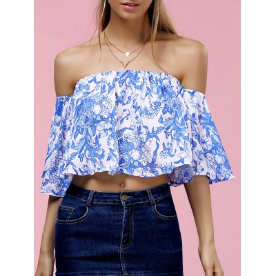 Fashionable Off The Shoulder Floral Print Crop Top For Women