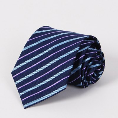 Stylish Light Blue and Purple Twill Jacquard Navy Blue Tie For Men