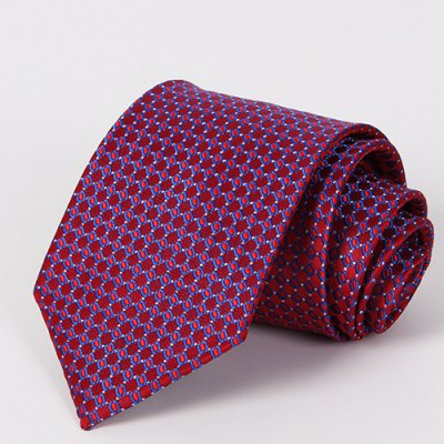 Stylish Checkered Mesh Jacquard Wine Red Tie For Men