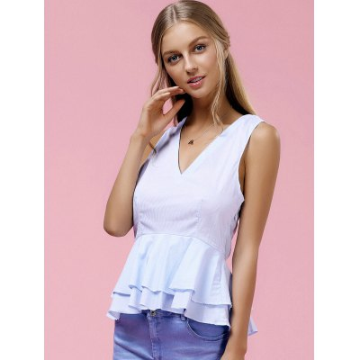 Fashionable V-Neck Pinstriped Ruffle Top For Women