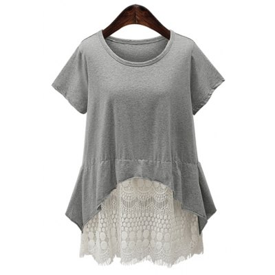 Women's Lace Spliced Asymmetrical Tee