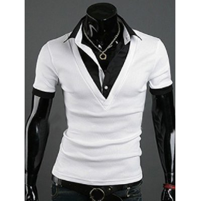 Turn-Down Collar Faux Twinset Short Sleeve Splicing T-Shirt For Men
