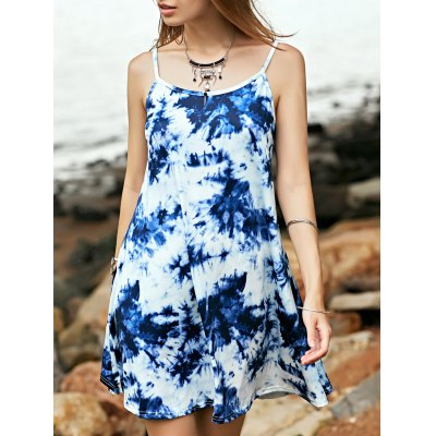 Stylish Cami Tie Dye Print A Line Women's Dress