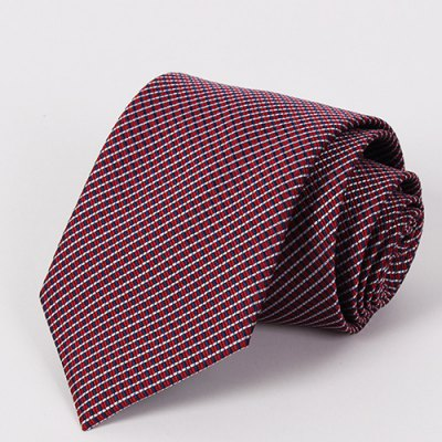 Stylish Cross Over Stripe Jacquard Wine Red Tie For Men