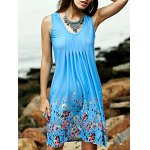 Stylish Scoop Neck Sleeveless Fitting Printed Women's Dress