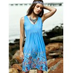 cheap Stylish Scoop Neck Sleeveless Fitting Printed Women's Dress