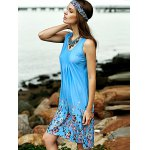 Stylish Scoop Neck Sleeveless Fitting Printed Women's Dress deal