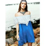 Sweet Embroidered Ruffle Women's Denim Dress photo