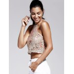 Women's Refreshing Halter Laced Embroidery Crop Top deal