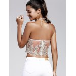 Women's Refreshing Halter Laced Embroidery Crop Top for sale