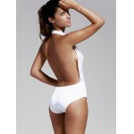 Women's Refreshing Plunging Neck Backless One Piece Swimwear deal