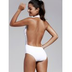 Women's Refreshing Plunging Neck Backless One Piece Swimwear for sale