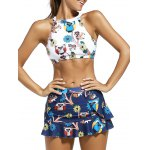 High Neck Animal Print Crop Top with Skirt + Briefs Swimsuit