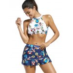 cheap High Neck Animal Print Crop Top with Skirt + Briefs Swimsuit