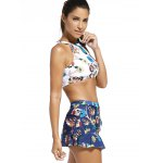 High Neck Animal Print Crop Top with Skirt + Briefs Swimsuit deal