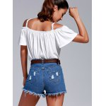Stylish Cold Shoulder Lace Trimming T-Shirt For Women deal