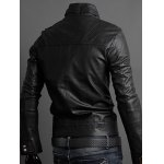 Stand Collar PU-Leather Belt Embellished Epaulet Long Sleeve Jacket For Men deal