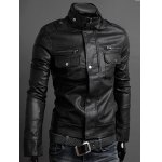cheap Stand Collar PU-Leather Belt Embellished Epaulet Long Sleeve Jacket For Men