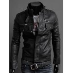 Stand Collar PU-Leather Belt Embellished Epaulet Long Sleeve Jacket For Men 11027