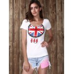 Trendy Scoop Neck Short Sleeve Clock Pattern Sequins Women's T-Shirt