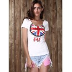cheap Trendy Scoop Neck Short Sleeve Clock Pattern Sequins Women's T-Shirt