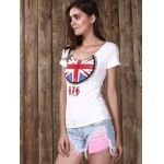 Trendy Scoop Neck Short Sleeve Clock Pattern Sequins Women's T-Shirt deal