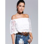 cheap Off-The-Shoulder Embroidery Laciness Crop Top