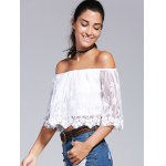 Off-The-Shoulder Embroidery Laciness Crop Top deal