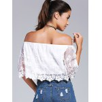Off-The-Shoulder Embroidery Laciness Crop Top for sale