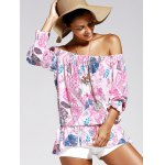 cheap Off The Shoulder Print Chiffon Blouse