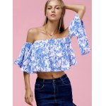 cheap Fashionable Off The Shoulder Floral Print Crop Top For Women