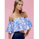 Fashionable Off The Shoulder Floral Print Crop Top For Women deal