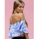 Fashionable Off The Shoulder Floral Print Crop Top For Women for sale