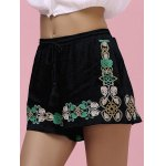 Stylish High-Waisted Drawstring Embroidered Women's Shorts deal