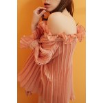 cheap Convertible Ruffles Solid Color Pleated T-Shirt