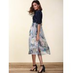 Elegant V-Neck Half Sleeve Denim and Slik Spliced Women's Dress deal