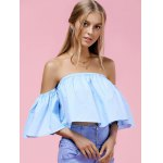 cheap Trendy Off-The-Shoulder Pure Color Women's Blouse